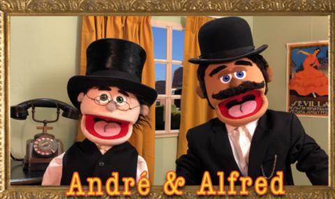 Andre en Alfred ouderwets met lijst en naam accent
